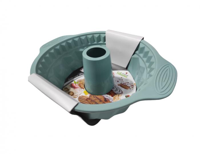 Forma pentru Tort si Prajituri din Silicon Non-Stick, Turcoaz, Calitate Premium, 24cm [0]