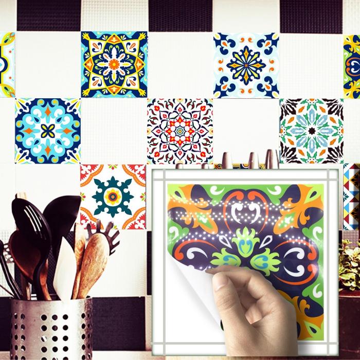 Set 9 Stickere Autocolante pentru Faianta sau Perete, 8x8cm, Mandale Multicolore, Model Deosebit [1]