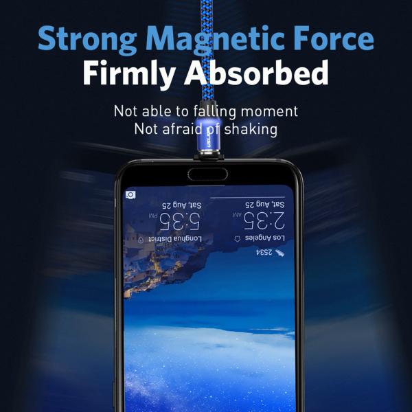Cablu Textil USB Fast & Safe Charging 3.6A cu Mufa Magnetica 360° Cablu de date telefoane Cablu de incarcare telefon 2