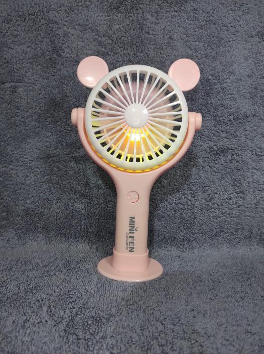 Ventilator 2in1 de Mana sau Birou, Foarte Puternic cu Acumulator Intern si Incarcare la USB, cu Lumini LED, Premium, Roz [2]