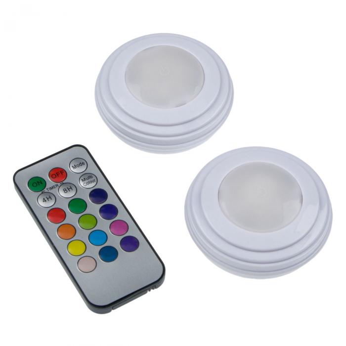 Set 2 Spoturi pentru Lumina Veghe, Becuri LED cu Telecomanda pentru Reglajul Culorilor, cu Baterii, Alb [2]