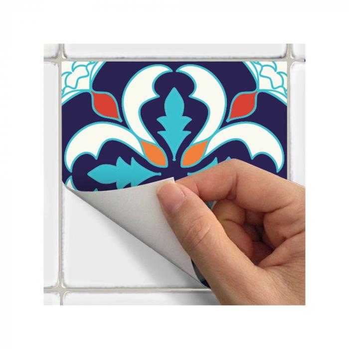 Set 9 Stickere Autocolante pentru Faianta sau Perete, 8x8cm, Mandale Multicolore, Model Deosebit [3]