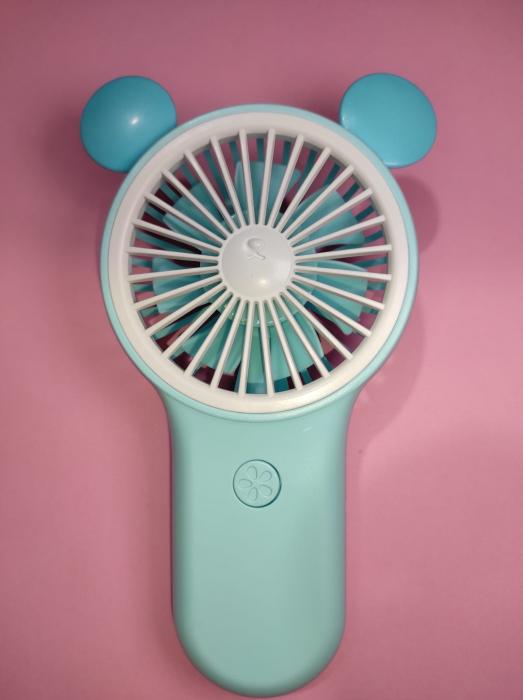 Ventilator de Mana Foarte Puternic cu Acumulator Intern si Incarcare la USB, cu Lumini LED, Premium, Albastru [1]