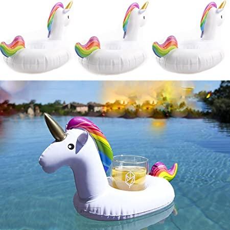 Set 3 Bucati Suport Gonflabil Plutitor pentru Apa si Piscina, Compatibil Doza sau Pahar, Unicorn Premium [0]