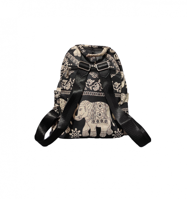 Ghiozdan cu 7 Buzunare si Bretele Ajustabile, Textil, Model Deosebit Premium, Imprimeu Elefant, Original Deals® [5]