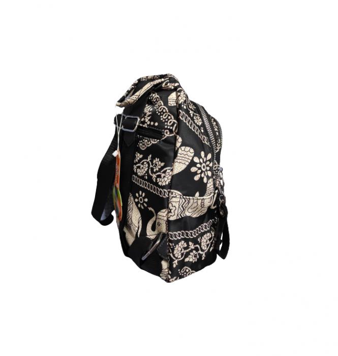 Ghiozdan cu 7 Buzunare si Bretele Ajustabile, Textil, Model Deosebit Premium, Imprimeu Elefant, Original Deals® [3]