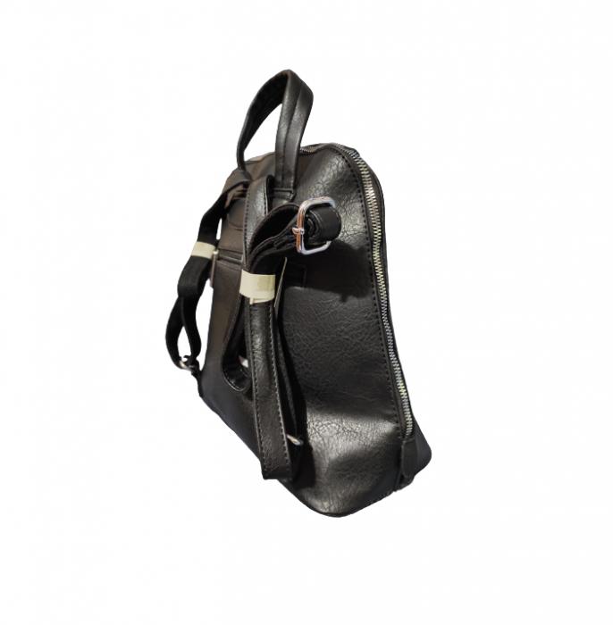 Ghiozdan cu 5 Buzunare si Bretele Ajustabile din Piele Ecologica Negru, Model Deosebit Premium [3]