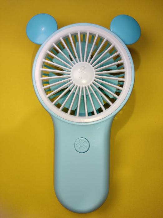 Ventilator de Mana Foarte Puternic cu Acumulator Intern si Incarcare la USB, cu Lumini LED, Premium, Albastru [3]
