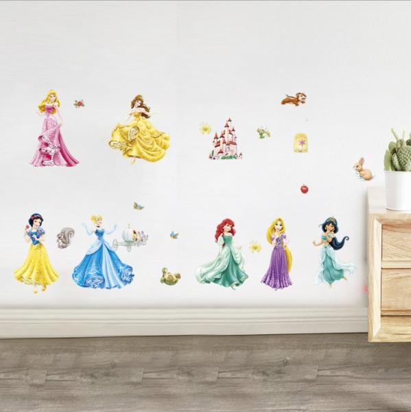 Set Sticker Autocolant 7 Printese Ariel, Rapunzel, Alba ca Zapada, Jasmine, Cenusareasa, Frumoasa din Pardurea Adormita, Frumoasa si Bestia, Bell 2