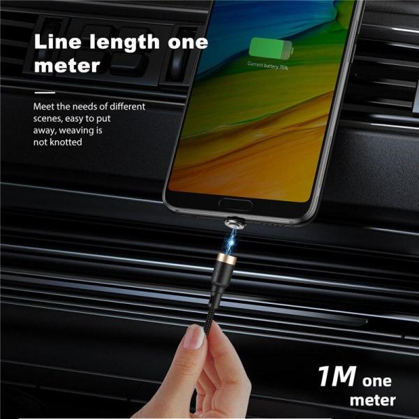 Cablu Textil USB Fast & Safe Charging 3.6A cu Mufa Magnetica 360° Cablu de date telefoane Cablu de incarcare telefon 3