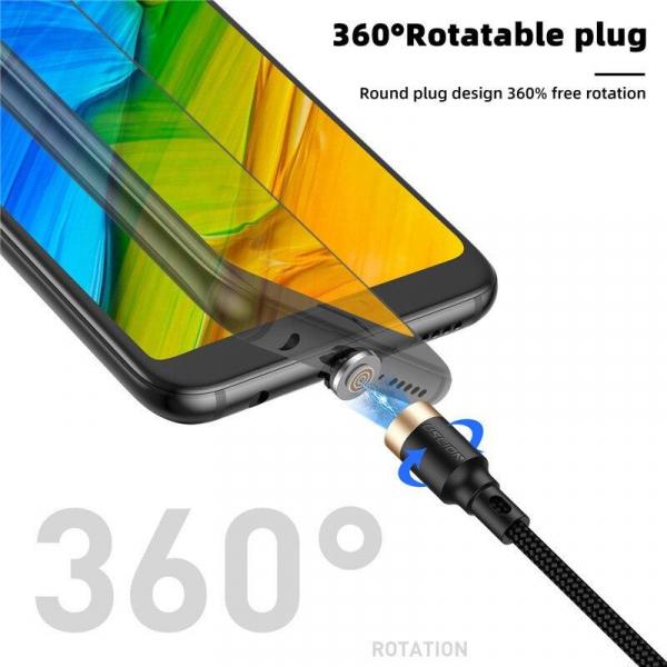 Cablu Textil USB Fast & Safe Charging 3.6A cu Mufa Magnetica 360° Cablu de date telefoane Cablu de incarcare telefon 4