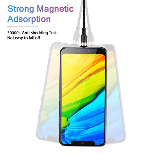 Cablu Textil USB Fast & Safe Charging 3.6A cu Mufa Magnetica 360° Cablu de date telefoane Cablu de incarcare telefon 5