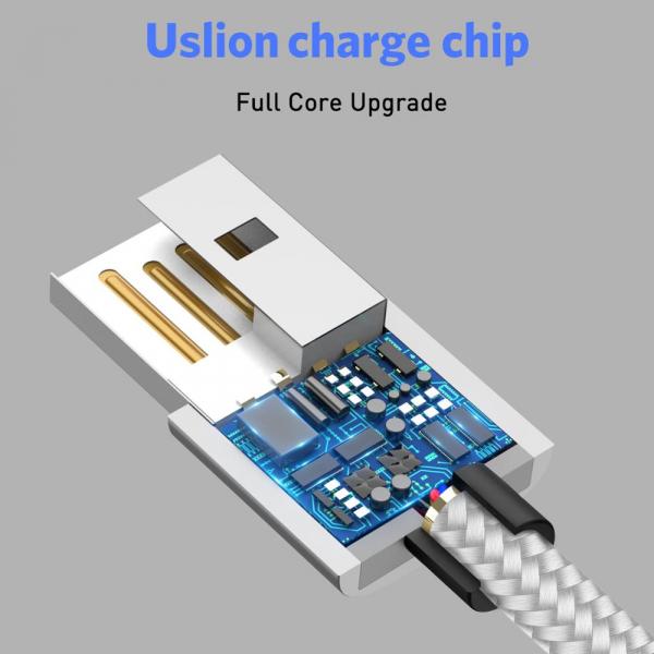 Cablu Textil USB Fast & Safe Charging 3.6A cu Mufa Magnetica 360° Cablu de date telefoane Cablu de incarcare telefon 8