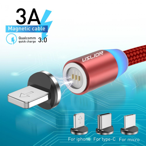 Cablu Textil USB Fast & Safe Charging 3.6A cu Mufa Magnetica 360° Cablu de date telefoane Cablu de incarcare telefon 10