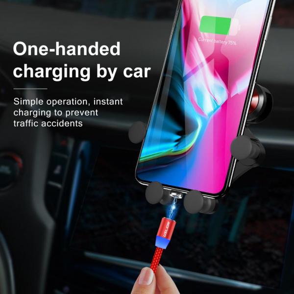 Cablu Textil USB Fast & Safe Charging 3.6A cu Mufa Magnetica 360° Cablu de date telefoane Cablu de incarcare telefon 11