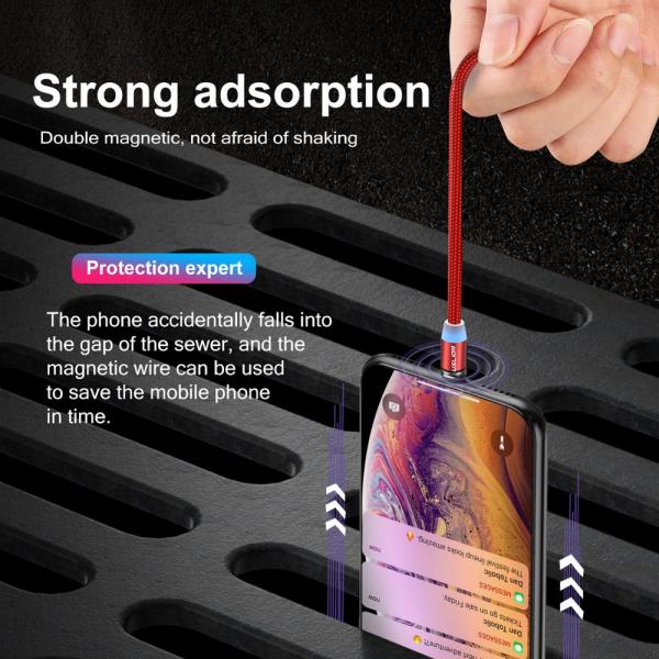 Cablu Textil USB Fast & Safe Charging 3.6A cu Mufa Magnetica 360° Cablu de date telefoane Cablu de incarcare telefon 12