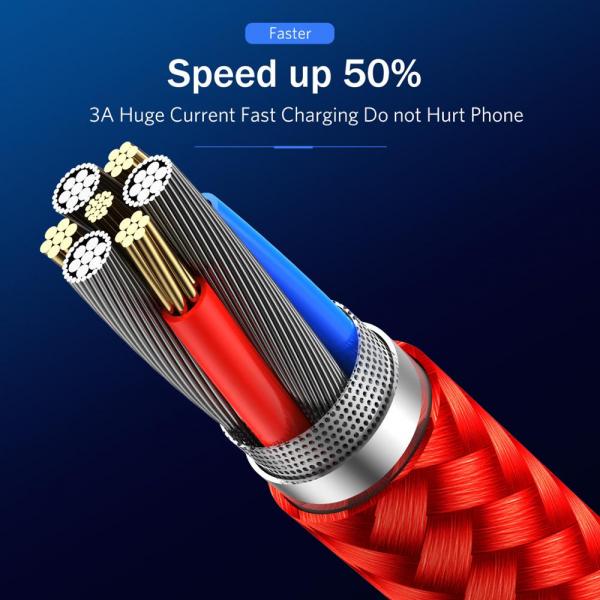 Cablu Textil USB Fast & Safe Charging 3.6A cu Mufa Magnetica 360° Cablu de date telefoane Cablu de incarcare telefon 13