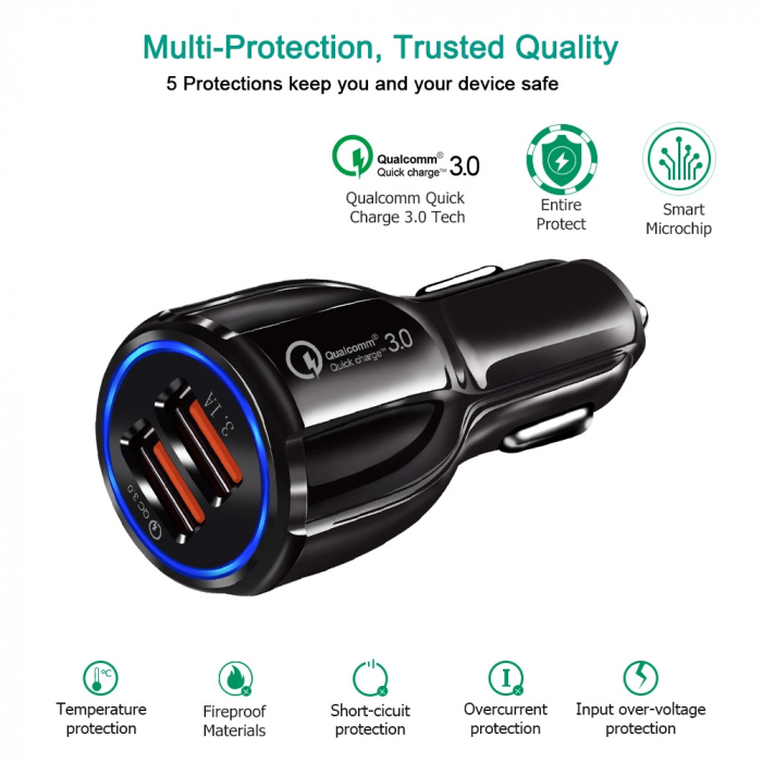 Incarcator Auto 2 USB 3.1A Fast & Safe Charge Qualcomm 3.0 Tehnology  Multiple Protectii 0
