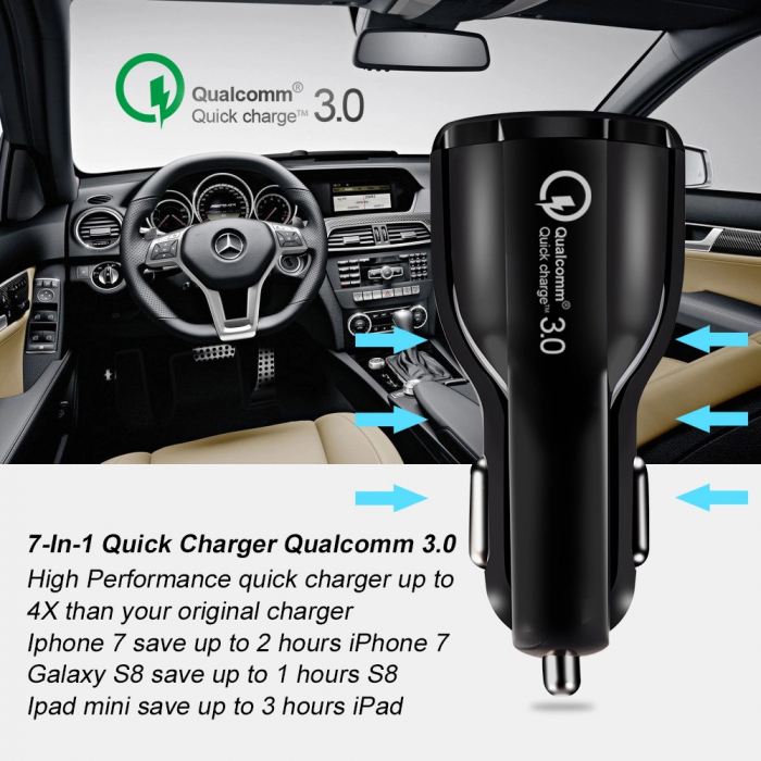 Incarcator Auto 2 USB 3.1A Fast & Safe Charge Qualcomm 3.0 Tehnology  Multiple Protectii 10