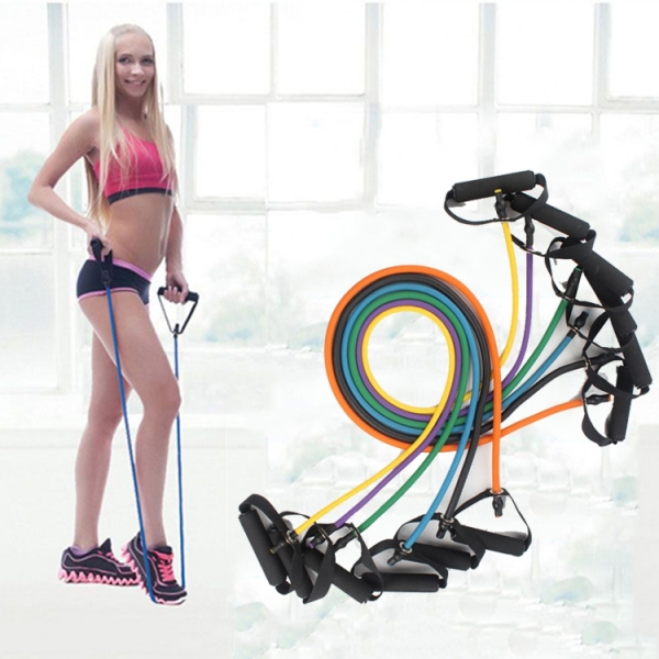 Extensor Fitness cu Corda Elastica din Latex pentru Tonifiere Muschi Piept, Brate, Spate, Abdomen, Picioare [3]