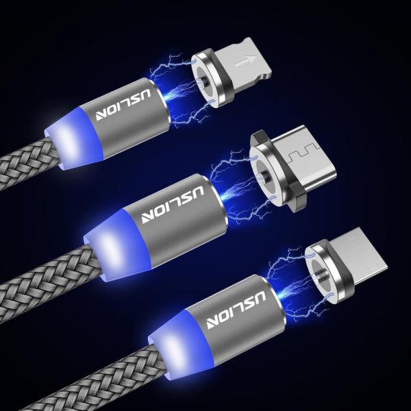 Cablu Textil USB Fast & Safe Charging 3.6A cu Mufa Magnetica 360° Cablu de date telefoane Cablu de incarcare telefon 41