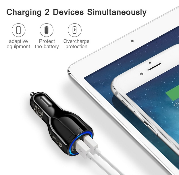 Incarcator Auto 2 USB 3.1A Fast & Safe Charge Qualcomm 3.0 Tehnology  Multiple Protectii 7