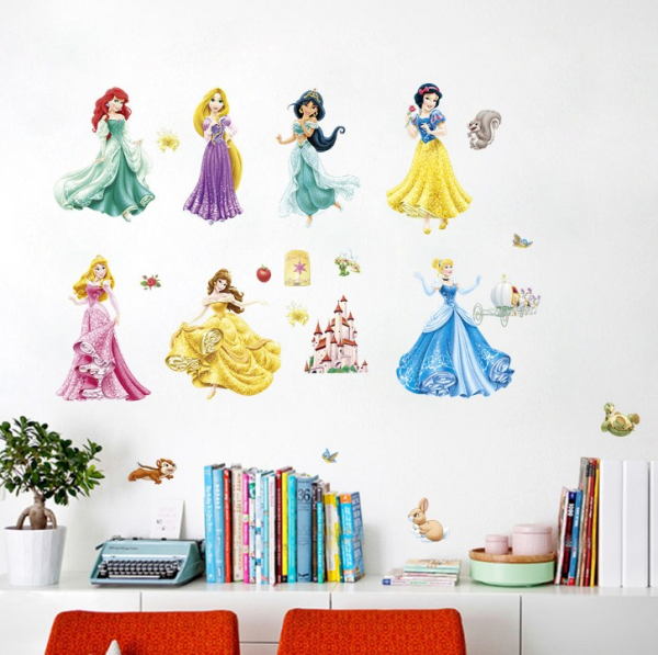 Set Sticker Autocolant 7 Printese Ariel, Rapunzel, Alba ca Zapada, Jasmine, Cenusareasa, Frumoasa din Pardurea Adormita, Frumoasa si Bestia, Bell 0