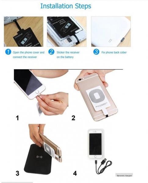 Adaptor Incarcare Wireless pentru Telefon sau Tableta cu Mufa USB Tip C - Fast Charge 4