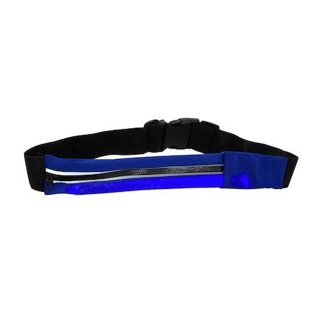 Borseta Sport Neopren pentru Alergare, cu Buzunar pentru Telefon si Banda Lumina LED, Reflectorizanta, 1 Compartiment Mare, Curea Elastica Reglabila, Impermeabila, Albastru 3