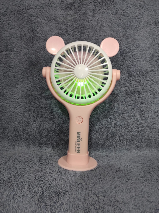 Ventilator 2in1 de Mana sau Birou, Foarte Puternic cu Acumulator Intern si Incarcare la USB, cu Lumini LED, Premium, Roz [4]