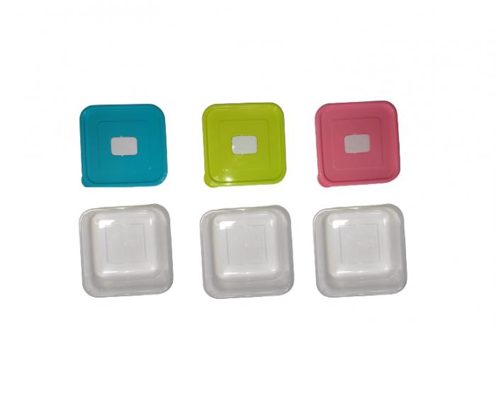 Set 3 Caserole din PVC pentru Depozitat si Transportat Alimente, 14x14 cm, Multicolor [1]