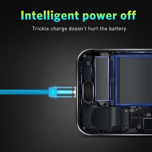 Cablu USB 3.0 Fast & Safe Charging 3.6A cu Mufa Magnetica Neodim 360° cu Lumini Full LED Cablu de incarcare telefon 12