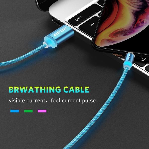 Cablu USB 3.0 Fast & Safe Charging 3.6A cu Mufa Magnetica Neodim 360° cu Lumini Full LED Cablu de incarcare telefon 13