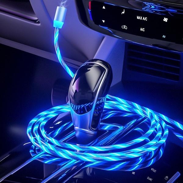Cablu USB 3.0 Fast & Safe Charging 3.6A cu Mufa Magnetica Neodim 360° cu Lumini Full LED Cablu de incarcare telefon 30