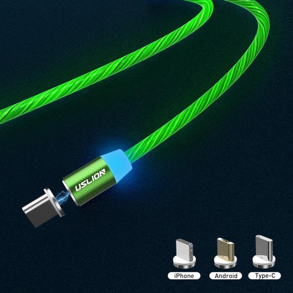 Cablu USB 3.0 Fast & Safe Charging 3.6A cu Mufa Magnetica Neodim 360° cu Lumini Full LED Cablu de incarcare telefon 26