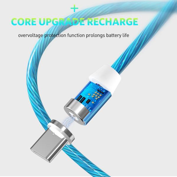 Cablu USB 3.0 Fast & Safe Charging 3.6A cu Mufa Magnetica Neodim 360° cu Lumini Full LED Cablu de incarcare telefon 8