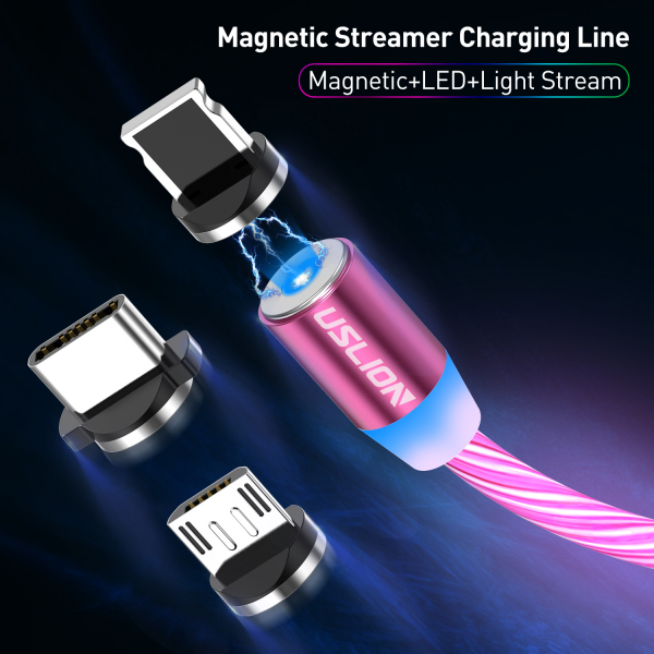 Cablu USB 3.0 Fast & Safe Charging 3.6A cu Mufa Magnetica Neodim 360° cu Lumini Full LED Cablu de incarcare telefon 22
