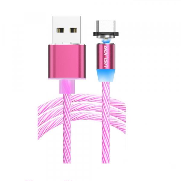 Cablu USB 3.0 Fast & Safe Charging 3.6A cu Mufa Magnetica Neodim 360° cu Lumini Full LED Cablu de incarcare telefon 6