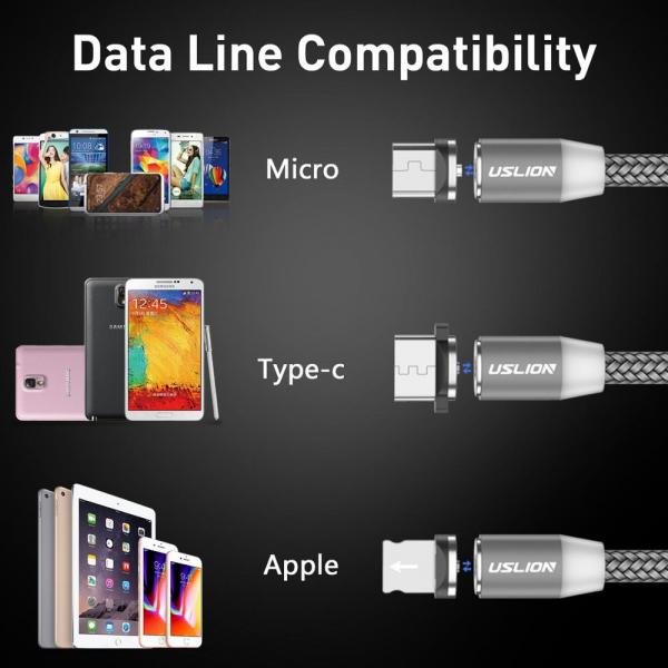 Cablu USB 3.0 Fast & Safe Charging 3.6A cu Mufa Magnetica Neodim 360° cu Lumini Full LED Cablu de incarcare telefon 18