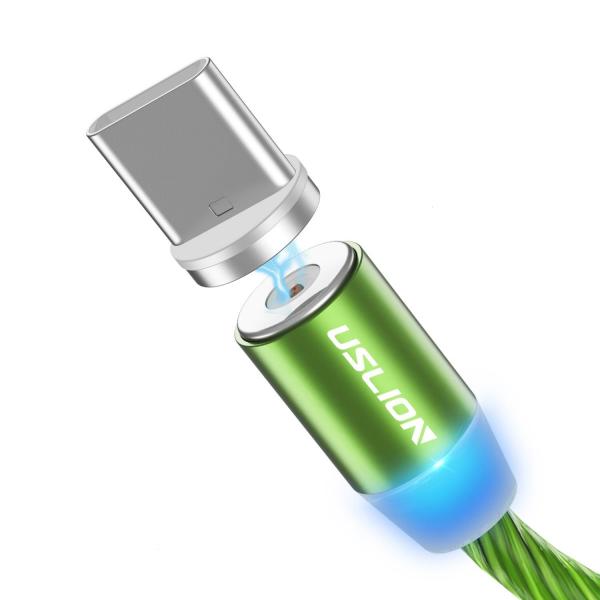 Cablu USB 3.0 Fast & Safe Charging 3.6A cu Mufa Magnetica Neodim 360° cu Lumini Full LED Cablu de incarcare telefon 15