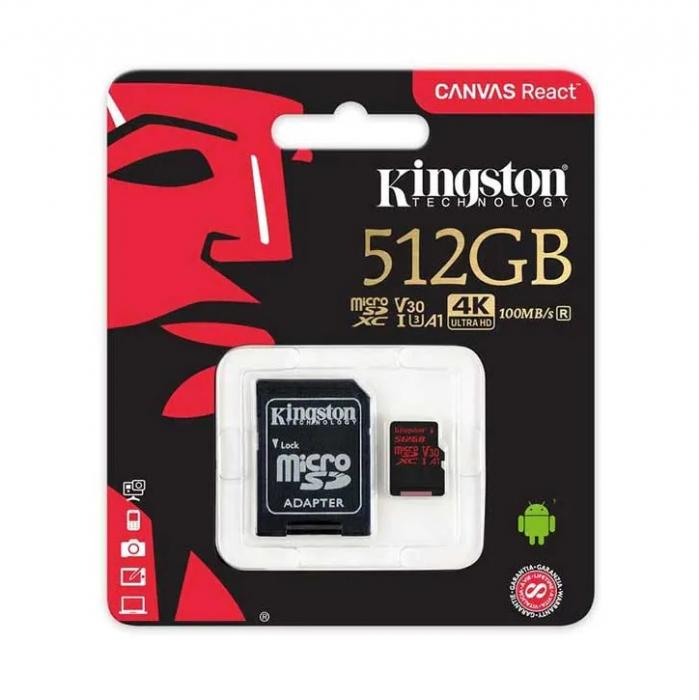 Card de Memorie Micro SD 512 GB, Compatibil Telefon, Tableta, Camera Foto si Video, Console Jocuri, Model Premium, Kingston [0]