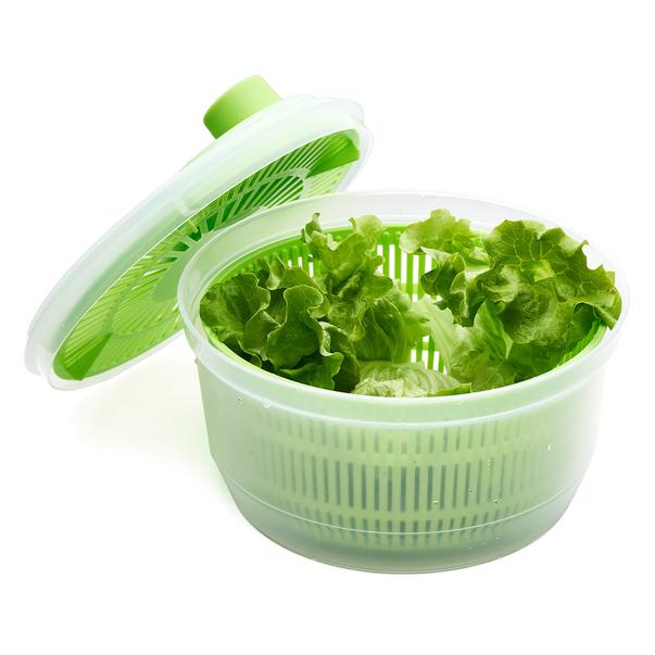 Bol cu Centrifuga pentru Amestecat Salata, Legume si Fructe, Capacitate Mare 4.4L, Capac si Strecuratoare cu Actionare Manuala [1]