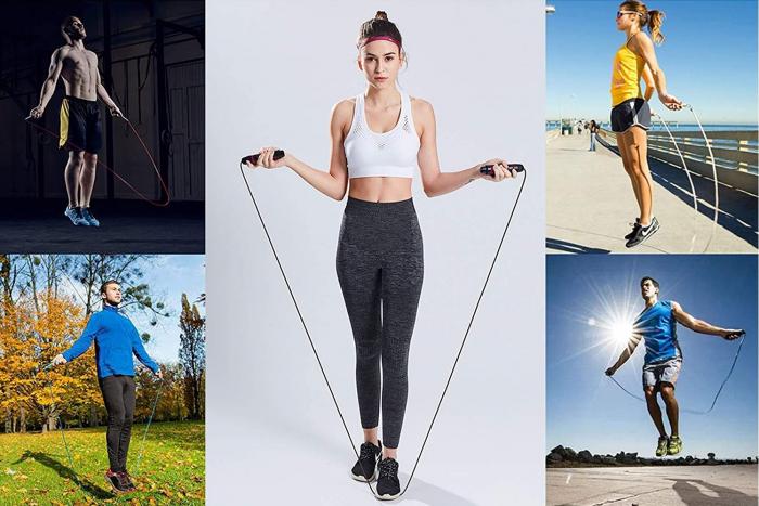 Coarda de Sarit pentru Antrenamente Sportive in Viteza Material PVC pentru Copii sau Adulti Model Universal Premium, 275cm, Neon [0]