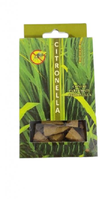 Set 20 Conuri pentru Gradina Parfumate cu Citronella Impotriva Tantarilor si Insectelor, cu Suport pentru Ardere 0