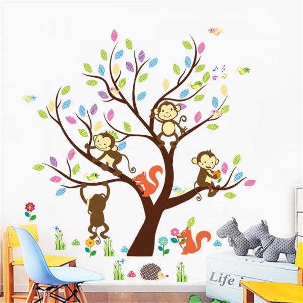 Sticker Decorativ Autocolant Autoadeziv Copac cu Maimute, Veverite, Arici si Pasari pentru Camera Copilului 0