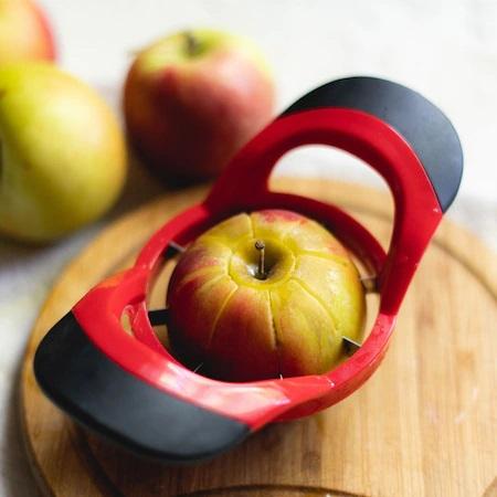 Cutit Feliator Fructe pentru Taiat Mere si Pere in 8 Felii Egale, Premium din PVC si Inox, Rosu [1]