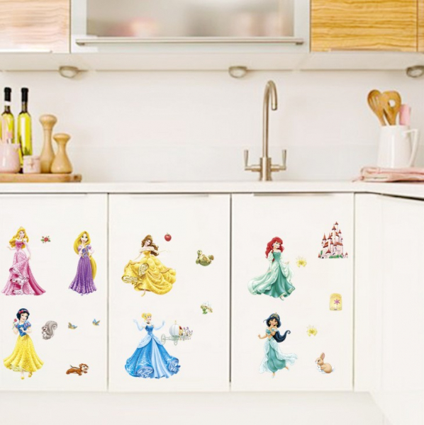 Set Sticker Autocolant 7 Printese Ariel, Rapunzel, Alba ca Zapada, Jasmine, Cenusareasa, Frumoasa din Pardurea Adormita, Frumoasa si Bestia, Bell 3