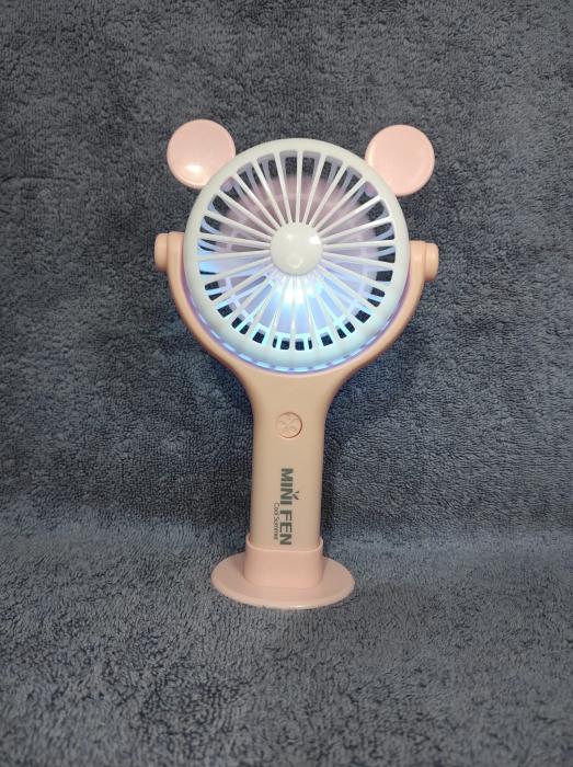 Ventilator 2in1 de Mana sau Birou, Foarte Puternic cu Acumulator Intern si Incarcare la USB, cu Lumini LED, Premium, Roz [5]