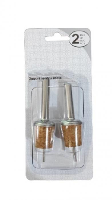 Set 2 Dopuri din Aluminiu si Pluta pentru Sticle de Vin, Model Premium cu Aerator, Inox [0]