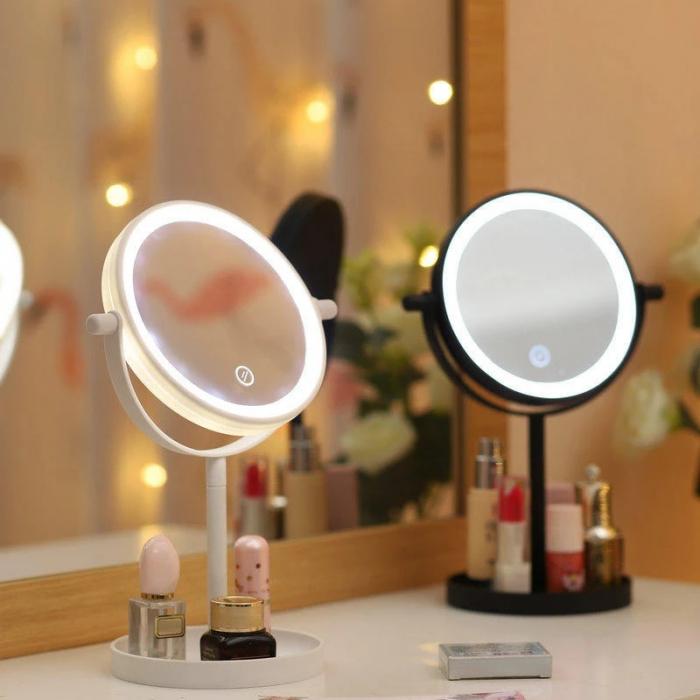 Oglinda de Masa pentru Machiaj si Make Up, cu Lumina LED Integrata, Wireless, cu Baterii, Buton Touch Screen On/Off, Premium, Roz [0]